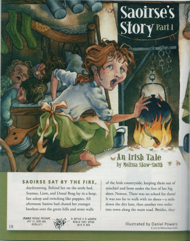 """Saoirse's Story,"" Cricket, Dec. 2007 - Feb. 2008, Illustrations by Daniel Powers"